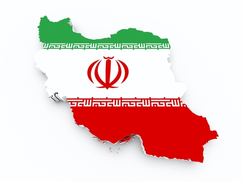 Iran flag, map - shutterstock_145681526