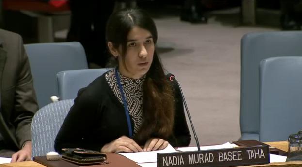 Nadia Murad addressing the UNSC