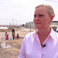 Lise Grande at Baharka IDP (refugee) camp near Erbil