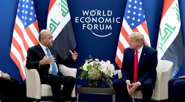 World Economic Forum Annual Meeting January 21 - 24, 2020 Barham-Salih-with-Trump-World-Economic-Forum-WEF-Davos-220120-623x346